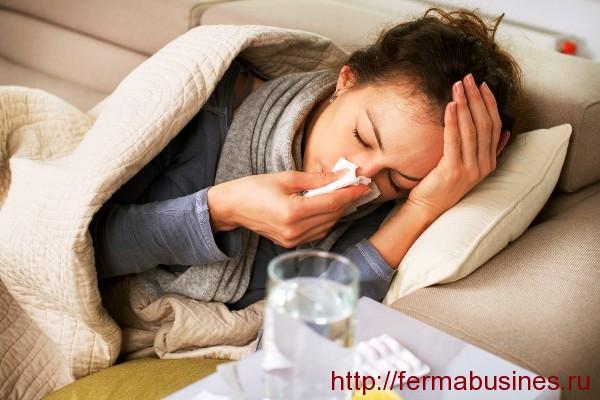 Женщина больная гриппом
