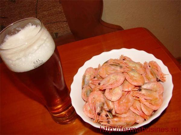 Пиво с креветками