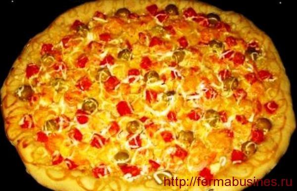 Готовая румяная пицца!