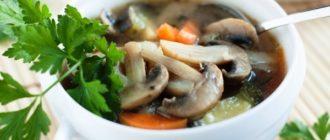 Суп с грибами из цесарки